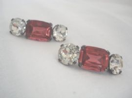 Art Deco French Paste Shoe Trims with Pink and White Crystals